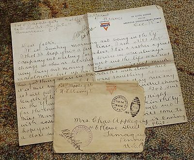 1918 World War I WWI Letter Home Applegate Tamaqua PA France Military Soldier