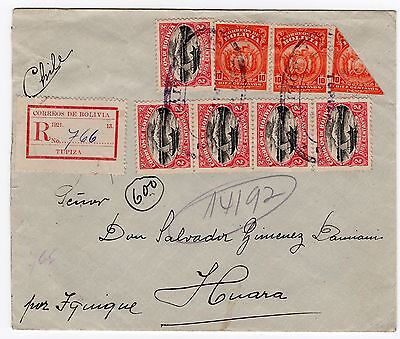 BOLIVIA 1923 registered cover Tupiza to Chile Huara bisected great franking