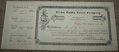 Rare 1902 HIRAM TUBBS ESTATE CO S.F Calif STOCK CERTIFICATE Susan A Tubbs SIGNED