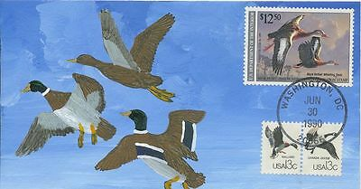 #RW57 1990 Federal Duck cover Hand Drawn & Painted DeRosset 99 made FDC