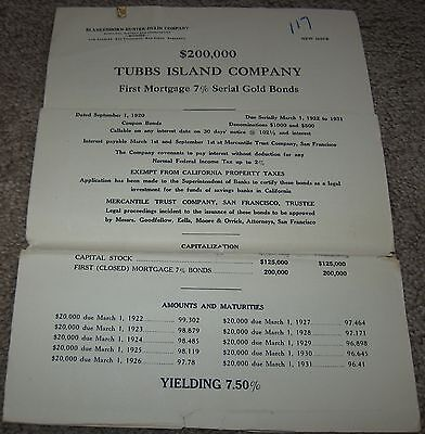 Rare 1920 TUBBS ISLAND COMPANY $200,000 BOND ISSUE OFFERING - 3300 Acres Calif.