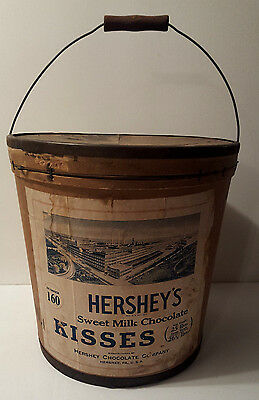 Rare Antique 1920 Hershey's Chocolate Kisses 25 LB. Shipping Bucket ~ Great Cond