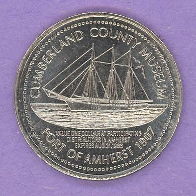 1986 Amherst Niova Scotia Trade Token or Dollar Sailing Ship Port of Amherst