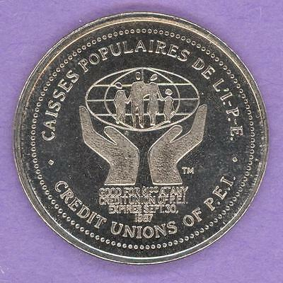 1987 Credit Union of Prince Edward Island Trade Token Logo Map 60th Anniversary