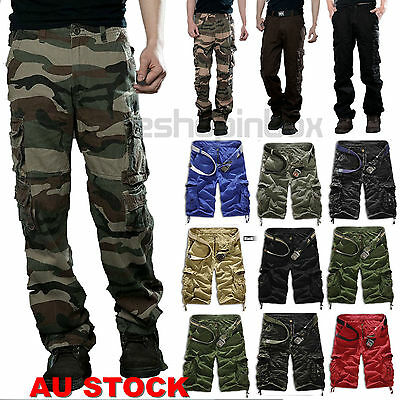 Casual Men's Military Army Cargo Short Pants Camo Combat Work Trousers Shorts