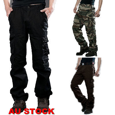 Casual Men Military Army Cargo Pants Camo Combat Work Long Trousers Winter Warm