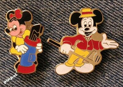 Mickey & Minnie Mouse~Lot of 2 Pins~Golf~Disney Productions~older 80's vintage