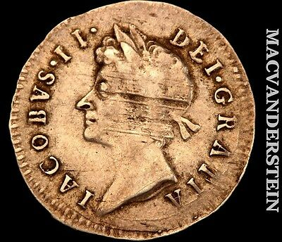 1687 3-Pence, James Ii, Great Britain- Scarce !! Better Date !! #h2760