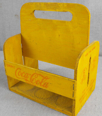 Antique Coca Cola Bottle Carrier 1940's Vintage 6 Bottle Wood Carrier