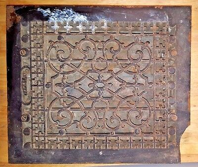 ANTIQUE 10X12 INCH CAST IRON FLOOR  REGISTER GRATE LOUVERS Architectural Salvage