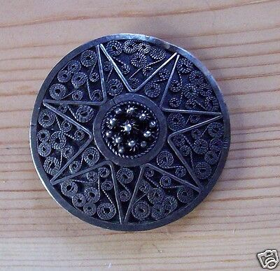 Egyptian Silver Shield Brooch Pin Tube Hinge Dated 1940 Unsigned 7-point Star