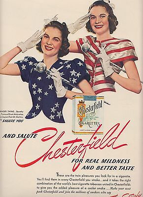 1940 Vintage Chesterfield Cigarette Ad  The Alexander Twins