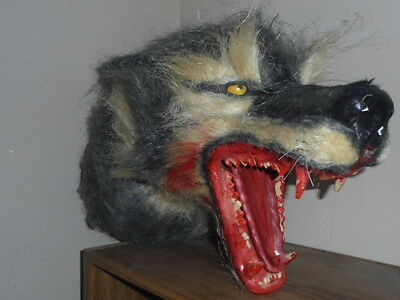 Vintage LIFE SIZE Paper Mache Halloween Wolf Head Blood Bloody Teeth Rare !! nr