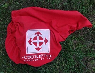 COURBETTE English Saddle Cover - Red, White Logo - Cotton Material/Elastic -NICE