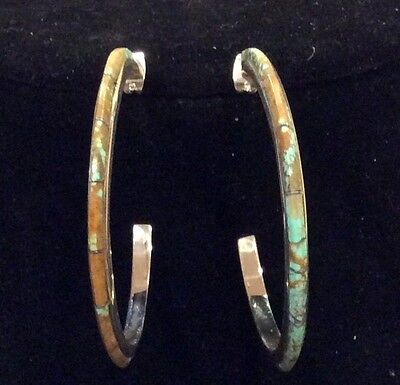 Native American Earrings Hoop Turquoise From Mine 8 Sterling -LAST CHANCE-