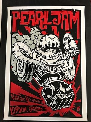 PEARL JAM screenprint poster 2009 LONDON by ACORN! SOLD OUT show edition VEDDER