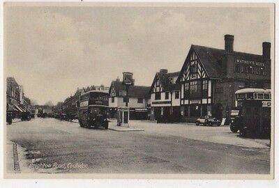 Brighton Road Coulsdon Surrey Old Bus Postcard B746