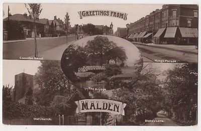 Greetings from Malden, Surrey RP Postcard B746