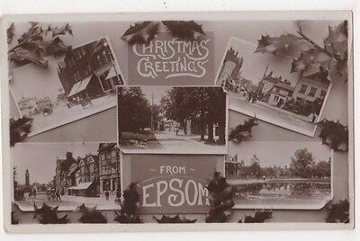 Christmas Greetings from Epsom, Surrey RP Postcard B746