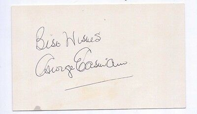 George Eastham of Arsenal FC signed white card obtained in South Africa 1982