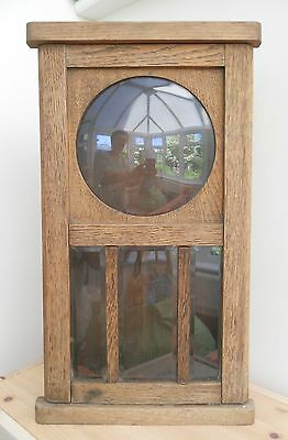 Large Oak ? Veneer Antique Clock Case 49Cmx27Cm X 11Cm_Convex Glass 17.5Cm D. • £18.00