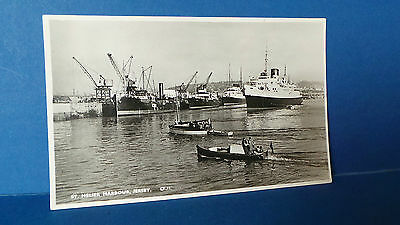 Jersey Channel Islands Postcard St Helier Harbour+ Boats Real Photo Card c1950's