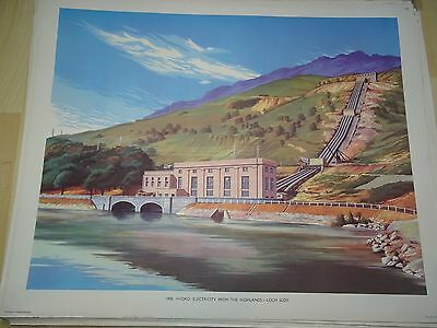 VINTAGE MACMILLAN'S TEACHING POSTER  Hydro Electricity Loch Sloy (171)