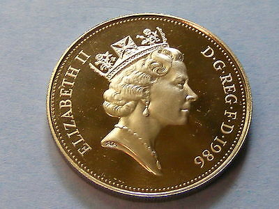 1986 Elizabeth II Proof Large Ten Pence Coin   -  Nice Condition