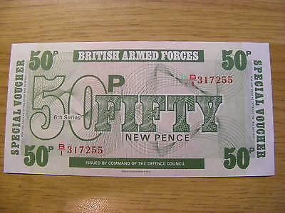6th Series British Armed Forces 50P Banknote - UNC  Seriel Number B1 317255