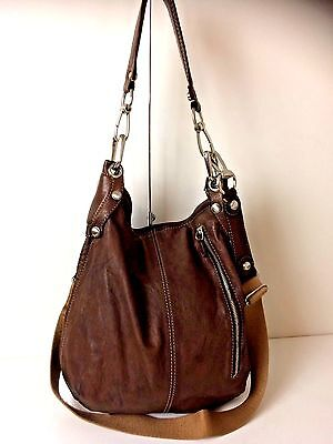 B Makowski Large Brown Leather Hobo Style Satchel Cross Body Shoulder Bag