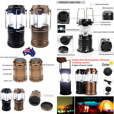 Portable LED Rechargeable Collapsible Outdoor Solar Camping Tent Lantern Light