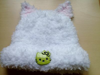 HELLO KITTY hand made knitted soft fluffy baby hat with ears newborn 0-6 mo girl