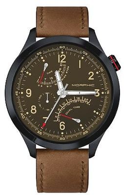 Morphic Mens M44 Series Watch,44mm,Brown Dial,Black Bezel,Brown Leather: MPH4403