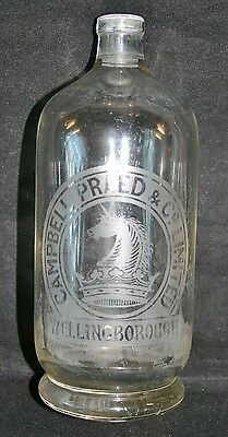 """""""CAMPBELL PRAED, WELLINGBOROUGH"""" Northamptonshire Etched Glass Soda Syphon"""