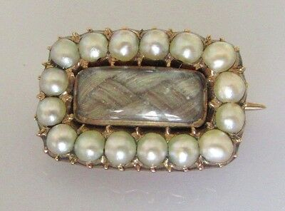 Antique Gold Pearl Set Memorial Oblong Brooch (Inlaid with hair)