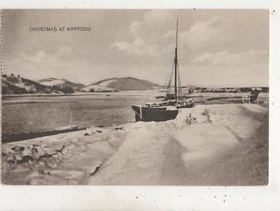 Christmas At Kippford Kirkcudbrightshire Scotland Vintage Postcard