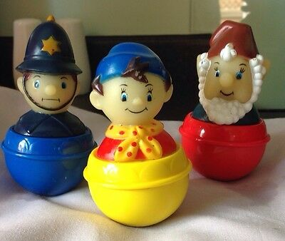 Vintage Noddy Big Ears and PC Plod Wobbly Weeble Toy Figures