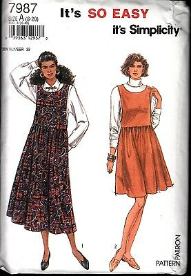 Simplicity Sewing Pattern #7987 Misses Jumper Size 20