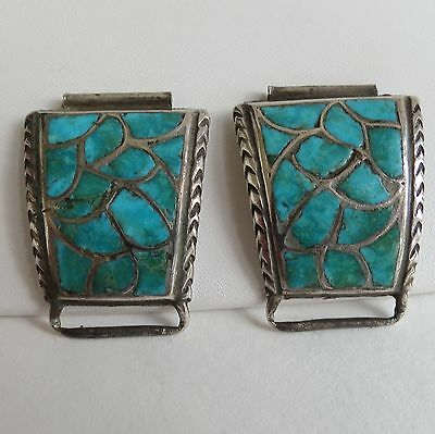 Native American Watch Bands tips 1960s 70s Zuni channel inlay turquoise sterling