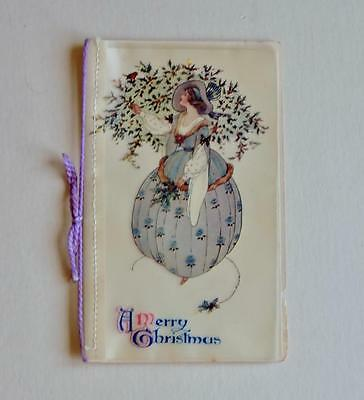 Antique Celluloid Fronted Christmas Card Lady With Holly & Robin