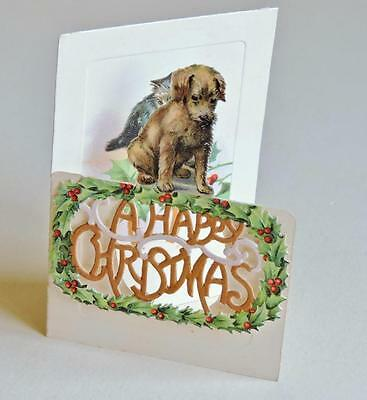 Beautiful Vintage Die Cut Folded Christmas Card Cute Puppy & Kitten Unused