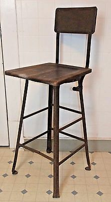 Vintage Metal & Wood DRAFTING CHAIR / Stool, INDUSTRIAL, Steampunk, Engineer