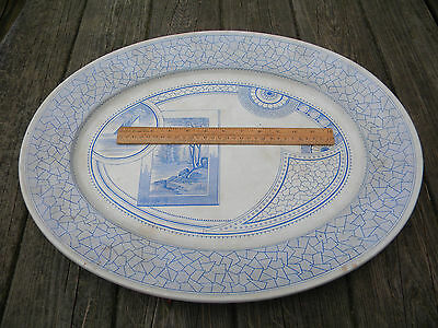 Antique 1880 Made in England Aesthetic 21 in Platter Blue Transferware Excelsior