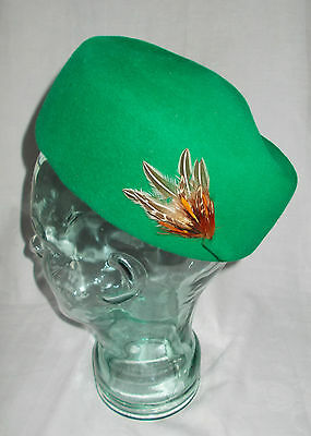 Vintage Emerald Felt with Feather Pill Box Cocktail Hat