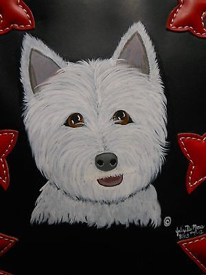 Westie White Terrier Dog Hand Painted Faux Leather Backpack Purse EUC