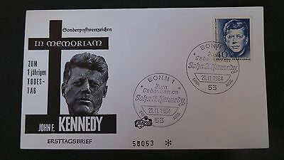 German, J.F.K, Memorial, Commemorative, First Day Cover. Postmarked 21.11.1964.