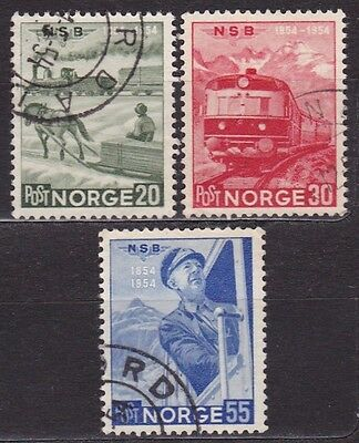 NORWAY #331-333 USED CENTENARY OF 1st NORWEGIAN RAILWAY