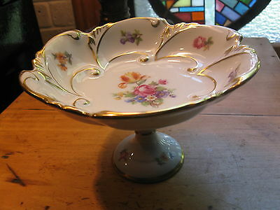 Vtg PM GERMANY  FOOTED PEDESTAL CANDY /MINT  DISH DRESDEN FLOWERS A1
