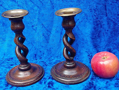 Antique c1890 pair oak open barleytwist candlesticks barley twist .