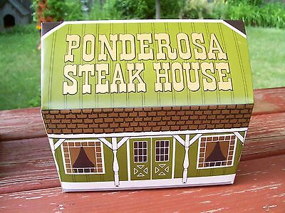 4 Ponderosa Steakhouse Take Out Dinner boxes w/ menu and Steak Order, Dixie made